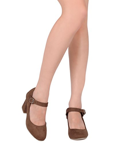 Alrisco Women Block Pump - Mary Jane Chunky Heel - Chic Leuke Veelzijdige Office Pump - Hb30 By Dbck Collection Tan Faux Suede