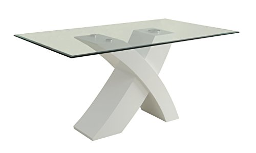 ACME Pervis White Dining Table with Glass Top