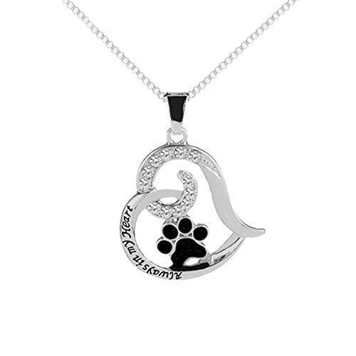 CHoppyWAVE Necklaces Letters Rhinestone Hollow Heart Dog Paw Pendant Necklace Women Party Jewelry - Silver
