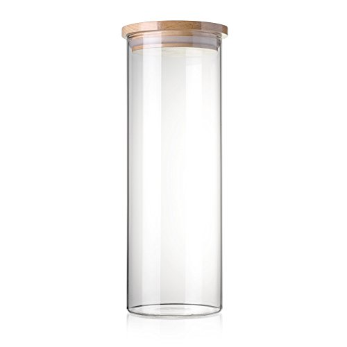STACK UP Transparent Food Storage Canister - Safe Clear Borosilicate Glass Jar with Wooden Lid - Perfect Container for Kitchen Organization - Keeps Food Dry and Fresh - Cylinder, Capacity 54.1 fl oz. - Cylinder Storage Bin