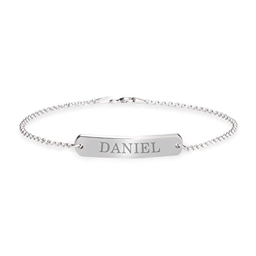 oNecklace - Classic Name Bar Bracelet - Personalized Engrave Bracelet (Sterling (Classic Name Bar)