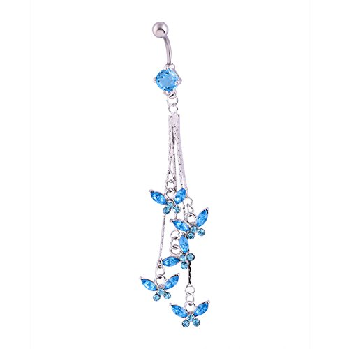 qsbai Women Sexy Belly Button Ring 316L Surgical Steel Rhinestone Dangle Navel Rings Piercing Jewelry Blue