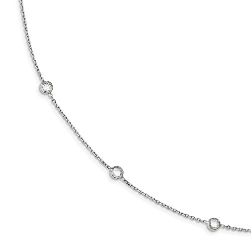 Solid 925 Sterling Silver 9-Station Round Cut Diamond Polished 18in Necklace (Floating Illusion Necklace)
