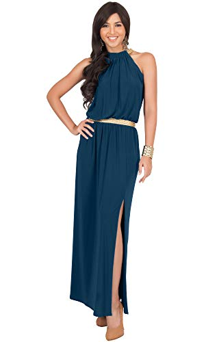 KOH KOH Plus Size Womens Long Halter Neck Sleeveless Sexy Summer Slit Split Belt Wedding Guest Bridesmaid Grecian Sun Sundress Gown Gowns Maxi Dress Dresses for Women, Blue Teal 2XL 18-20