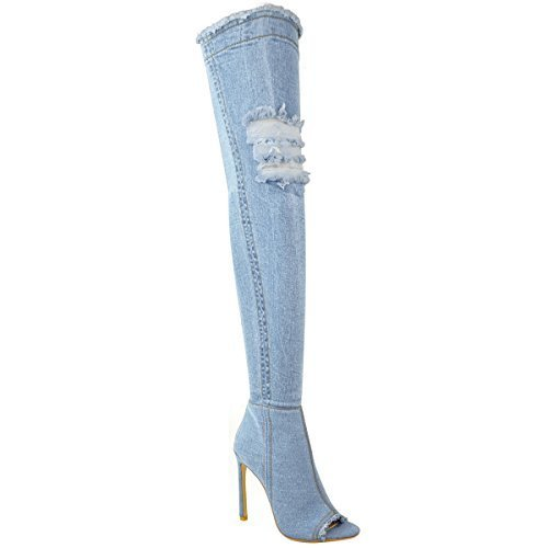 Fashion Stretch Blu Spillo Tacchi Ladies Alti Thirsty Boots Over Womens Taglia A Chiaro Denim Knee The 1qPpxr1wS
