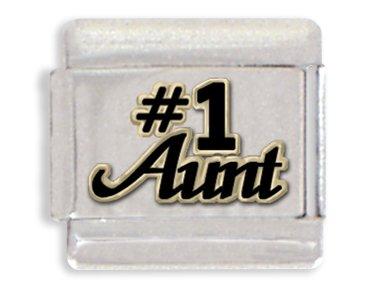 Number 1 Italian Charm (Number One Aunt Italian Charm Bracelet Link)