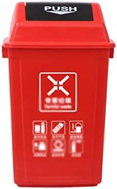 滑らかな表面 屋外のゴミ箱、工場ストリートパークリサイクルビン防水ゴミ箱のごみ箱バレル住宅商用利用 リサイクル可能なデザイン (Color : Red, Size : 31*42*75CM)