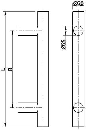 Stangen-Griff /Ø 30 mm Design Haust/ürgriff mit Befestigungsmaterial 1 St/ück Lochabstand 1000 mm Gedotec Haust/ür-Beschlag Edelstahl T/ürbeschlag rund Sto/ßgriffe gerade Lange 1200 mm HE10008