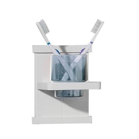Marca nuevo blanco pino de madera montado en la pared accesorios de baño cepillo de dientes Vaso para cepillos de dientes: Amazon.es: Hogar