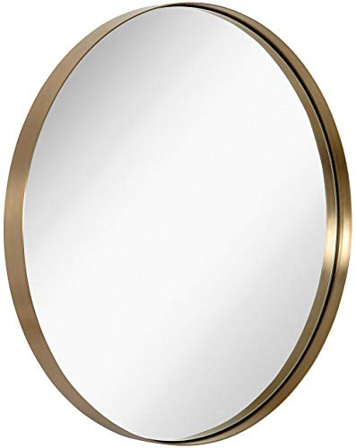 Hamilton Hills Contemporary Brushed Metal Gold Wall Mirror | Glass Panel Gold -
