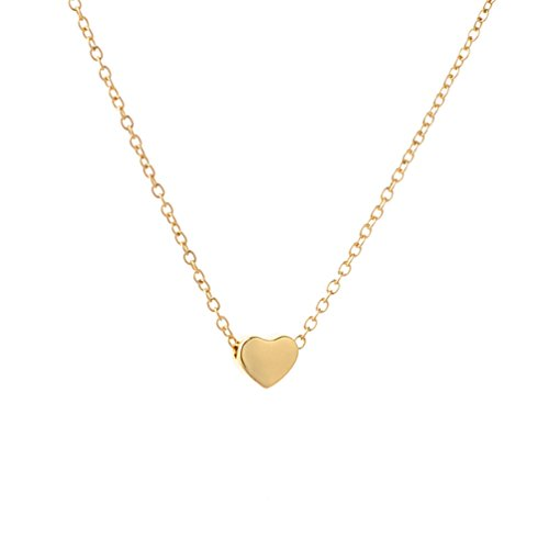 Heart Gold Large Necklace (Fettero Handmade 14K Gold Filled Dainty Charm Love Small Tiny Heart Pendant Necklace for Women 16.5
