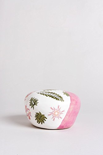 Pink White and Green Sculpture, Ceramic Handmade Decorated with Colorful Symbols and Leaves, Designed by an Artist 4.7 inch height, Unique Gift for Valentine's Day By Noa Razer (Nearest At)
