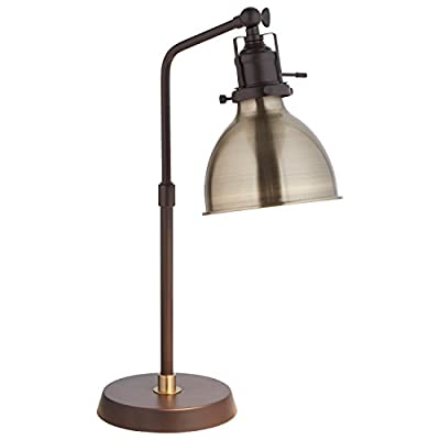 Rivet Pike Factory Industrial Table Lamp With Light Bulb - 6 x 13 x 19 Inches, Black with Bronze Shade - Add modern industrial style and versatility to home, office or side table with this adjustable task lamp. Clean lines gives this lamp a fresh feel Easy assembly in 15-30 minutes Brushed antique bronze desk lamp - lamps, bedroom-decor, bedroom - 31q6Pnj3I3L. SS400  -