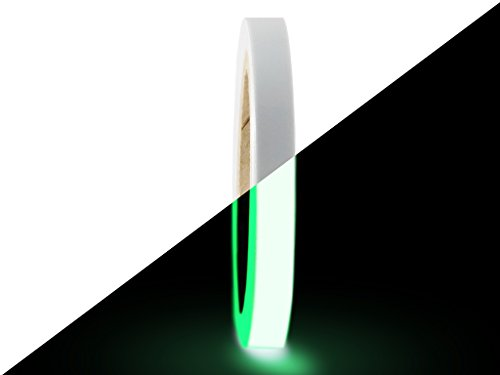 T.R.U. PGD-6 Glow In The Dark Tape: 1/2 in. wide x 30 ft. length (Luminescent Lime Green). Photoluminescent Neon Green Tape. by GGR Supplies