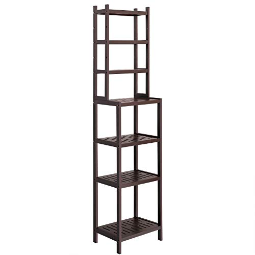 oo Bathroom Shelf, 2-in-1 Design Adjustable Storage Rack, Free Standing Multifunctional Organizer, Shelving Unit for Washroom, Living Room, Kitchen, Brown UBCR01BR ()