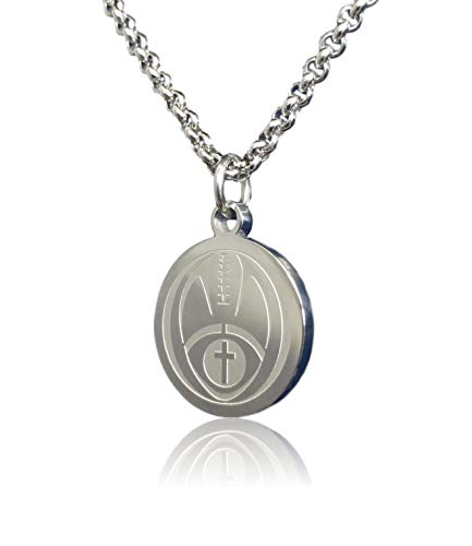 Football Cross Necklace by Pendant Sports. Presented in