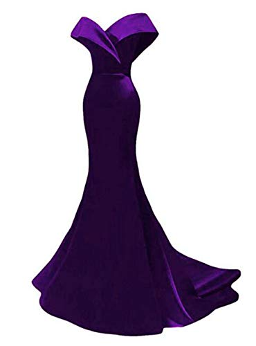 Off The Shoulder Mermaid Prom Dresses 2019 Long Satin Evening Dresses Formal Party Gowns for Women Purple ()
