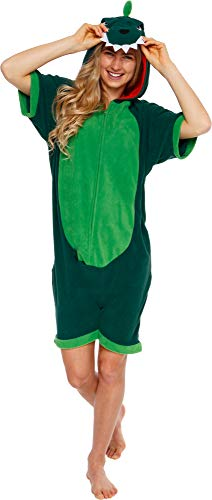 Silver Lilly Dinosaur Short Sleeve Animal Pajamas - Plush Adult One Piece Summer Cosplay Costume (Large) Green -
