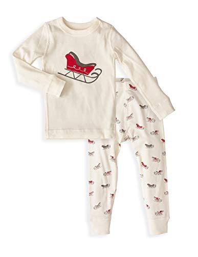 Baby Long Sleeve Holiday Pajama Set - 100% Soft Organic Turkish Cotton- Unisex Boys/Girls - Red Santa Sled for 12-18 Months