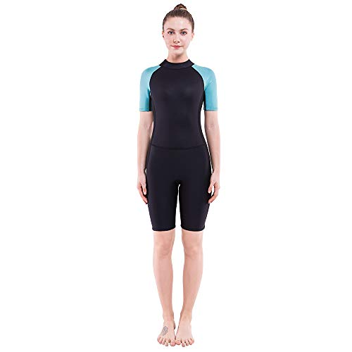 Diving Shorty Wetsuit - Dark Lightning 2mm Wetsuit Women, Women's Shorty Wet Suit with Premium Neoprene, and Kids 2mm One Piece Wet Suits for Fishing, Diving,Surfing, Snorkeling, M Size