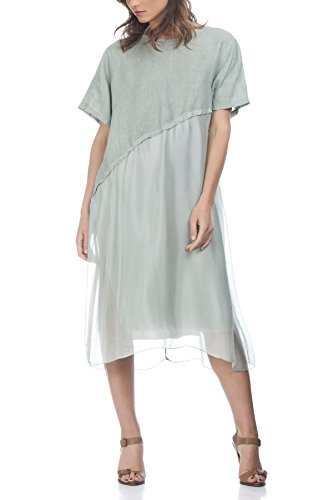 Laura Moretti - Vestido de lino de 2 texturas Verde