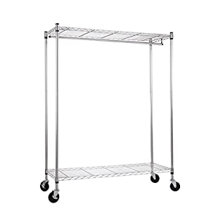 """WANNAKEEP Rolling Wardrobe Rack Wire Shelving Adjustable Clothing Garment Rack Steel with Top and Bottom Shelves 2 Tier Extra Wide Heavy Duty Commercial Grade Chrome with Wheels 48""""X18""""X62.75"""""""