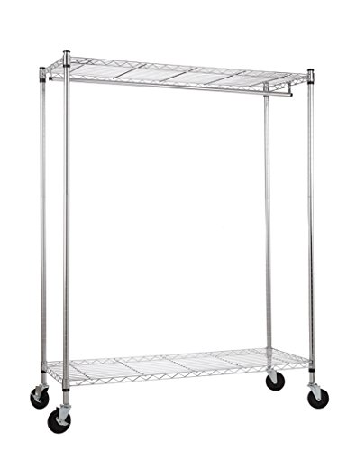 WANNAKEEP Rolling Wardrobe Rack Wire Shelving Adjustable Clothing Garment Rack Steel with Top and Bottom Shelves 2 Tier Extra Wide Heavy Duty Commercial Grade Chrome with Wheels 48