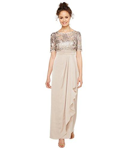 正当な咽頭集計[アドリアナパペル] Adrianna Papell レディース Petite Sequin Embroiderd Draped Gown with Elbow Sleeve ドレス Light Mink 6P [並行輸入品]