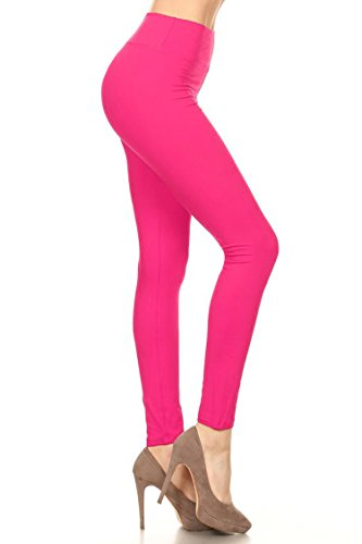- Leggings Mania Women's Solid Colored Leggings with Wide Yoga Waistband Fuchsia