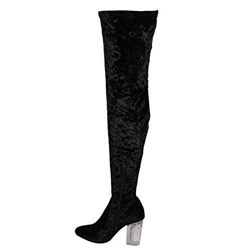 Cape Robbin Fay-2 Over De Knie Stretch Glazen Hiel Dij Hoge Laarzen Zwart Fluweel Fay-15