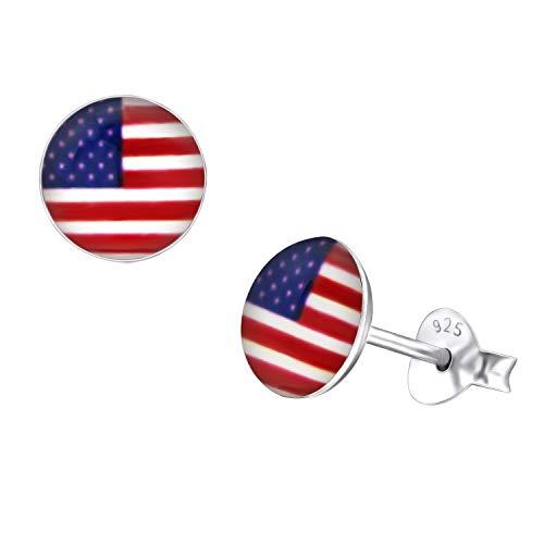 7mm Womens Disk Shape USA Flag Studs 925 Sterling Silver Earrings 925 Sterling Silver American Flag