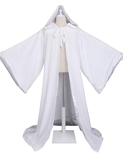 LuckyMjmy Velvet Wizard Robe Halloween Cloak Fancy Cosplay Costume (Medium, White) -