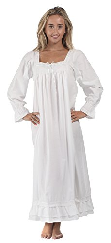 Country Peasant Dress Girl - The 1 for U 100% Cotton Nightgown - Martha (XL) White