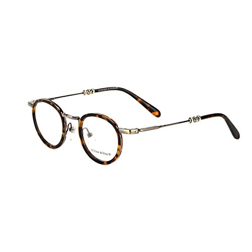 Eileen&Elisa Round Vinatge Glasses Frame with Clear Lens Retro Reading Eyeglasses Frame Case (Tortoise, - Vinatge Glasses