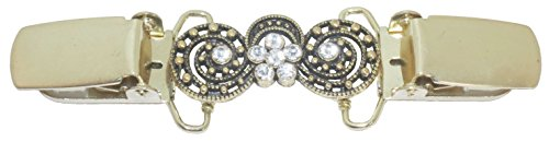 Gold Antique Circles with Crystals Cardigan Clip (Circle Gold Brooch)