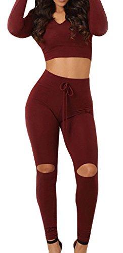 Jiujiuyi Women's Long Sleeve Hoody Crop Top and Ripped Pant Suit