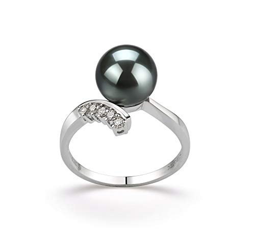Grace Black 8-9mm AAA Quality Tahitian 14K White Gold Cultured Pearl Ring For Women - Size-6