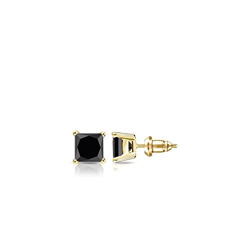 14k Yellow Gold 4-Prong Basket Princess-cut Black Diamond Men's Stud Earrings (1/2 ct, (4 Prong Princess Basket)