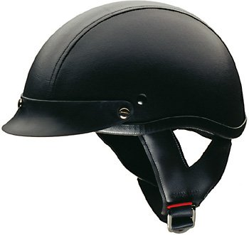 HCI-100 Black Leather 1/2 Helmet-XXL