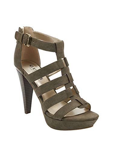 GUESS Factory Women's Nancee Gladiator Platform Heels Dark - 4.5 Stacked Platform Inch