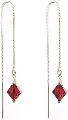 Sterling Silver Threader earrings Made with Swarovski Crystal Elements. Light Siam Colored Red