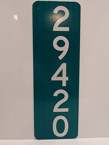 Green and White Mailbox Sign - Vertical Sign (Green House Numbers)