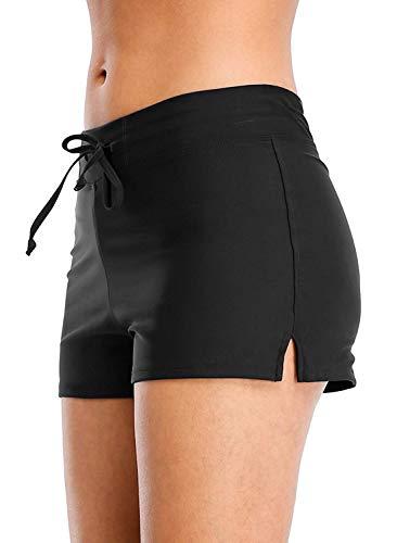 Vegatos Women Stretch Swim Board Shorts Black Swimming Short Drawstring ()