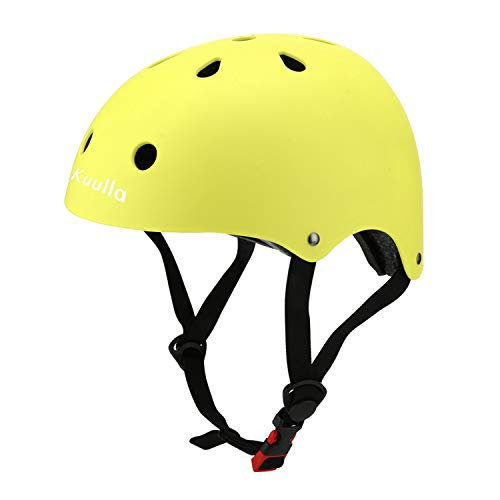 Kuulla Toddler Helmet CPSC Certified - Kids Bike Yellow Green Helmet Adjustable - Toddler to Youth Age 3-8 - 11 Vents Safety & Ventilation Design - Kids Cycling Skating Scooter