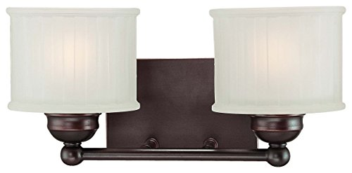 (Minka Lavery Wall Sconce Lighting 6732-167, 1730 Series Reversible Glass Damp Bath Vanity Fixture, 2 Light, 200 Watts, Bronze)