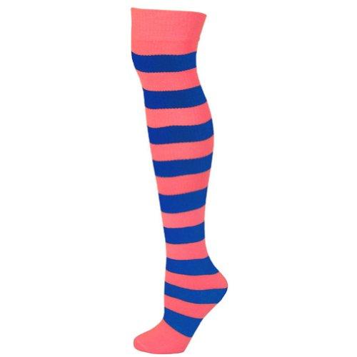 Ajs Pink Striped Blue Hot Socks Adult Sja rrTXF