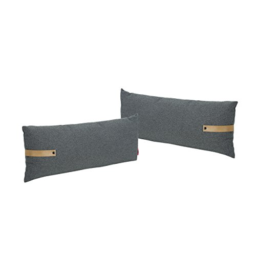 (Christopher Knight Home 305391 Dunn Mid Century Rectangular Fabric Pillow with Faux Leather Strap (Set of 2), Charcoal and Golden Tan,)