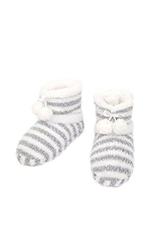 Stripe W Slipper Boots Warm Pom Comfy HY Grey Cozy Ribbons 0112 Womens p8tqXx