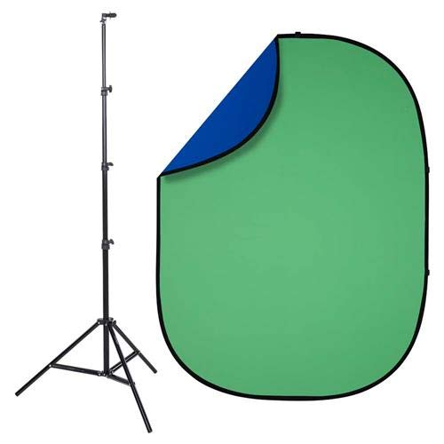 Interfit PB203K Studio Essentials Collapsible - KIT - 5' x 6.5' Pop-Up Reversible Background with Stand & Clip, Chroma Green/Chroma Blue ()