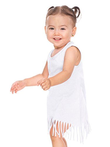 Dress Infant Girls Tank (Kavio! Infants Sheer Jersey Raw Edge Fringe Asymmetrical Tank Dress White 18M)